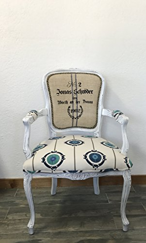 Louis XV French Style White Arm Chair, Blue Suzani Print Fabric, Vintage Grain Sack Fabric, White Chair, Dining Chair, Desk Chair, Accent Chair