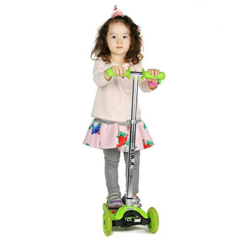 Vokul Mini Kick Scooter for Kids Age 3 and Old Kick Glider 3 Wheel LED light with Adjustable Height for Childhood Fun - Excellent Stable Lean-to-Steer Mechanism (For Lights Scooters)