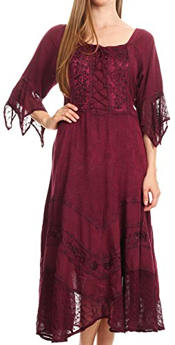 Corset Floral Embroidered (Sakkas 15224 - Bexley Scoop Neck Bell Sleeve Bohemian Gypsy Embroidered Corset Dress - Wine - L/XL)