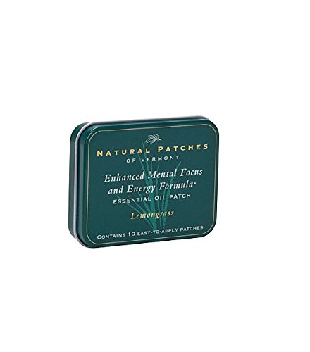 Natural Patches (Natural Patches Of Vermont Lemongrass Mental Focus & Energy Essential Oil Body Patches, 10-Count Tin)