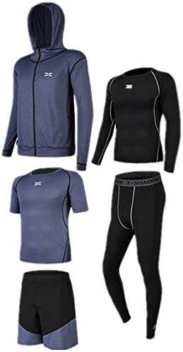 レディースジャージ上下セット タイトなパンツ半袖Tシャツメンズランニングスーツのためのショートパンツスーツ5に1セットセット長袖シャツ 吸汗 速乾 (Color : Black blue, Size : M)
