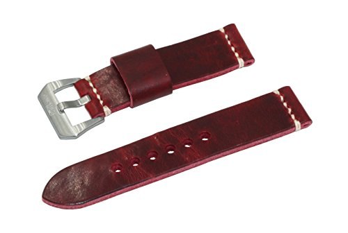 SWISS REIMAGINED Genuine Full Grain Leather Watch Band Strap Choice of Color Red