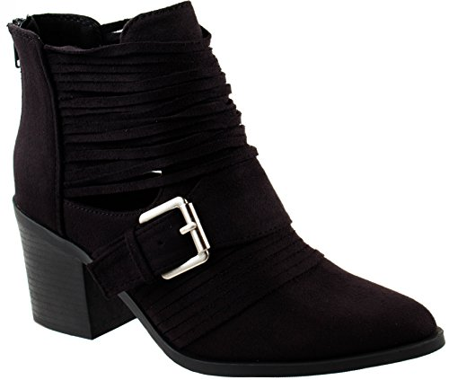Soda Shoes Women's Jenner-S Black Su Block Mid Heel Ankle Cutout Bootie with Belted Strappy Stacked 9 D(M) ()