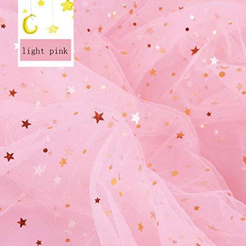 Fabric - 1 Meter/lot 1.55m Width Star Yarn Cloth Gauze Background Cloth Photo Props Veil Lace Yarn Sequin Gauze Cloth (Light Pink) ()