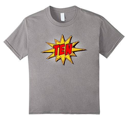 Kids Kids 10th Birthday Comic Superhero T-Shirt for 10 Year Olds 12 Slate (Comic Retro Old Shirt)