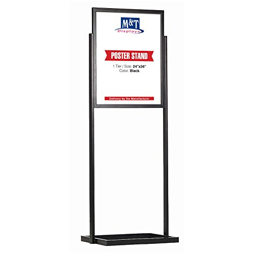 Heavy Duty Eco Infoboard Floor Standing Double Sided Poster Sign Holder Display, 24x36 Poster Size, Black, 1 Tier, Double Sided
