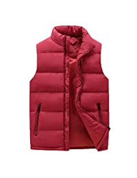 Ueioc Men Winter Stand Collar Quilted Sleeveless Puffer Down Vest