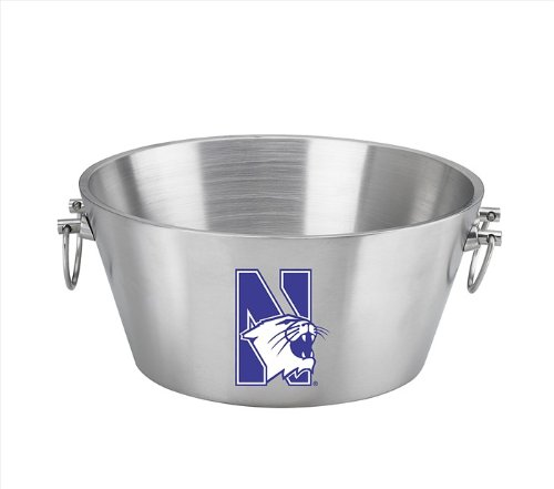 NCAA Northwestern Wildcats Doublewall Insulated Stainless Steel Party Tub, 15-Inch