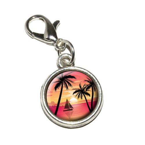 Graphics and More Pink and Orange Beach Sunset Palm Trees Ocean Sail Boat Antiqued Bracelet Pendant Zipper Pull Charm with Lobster Clasp