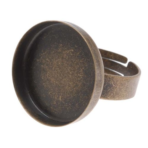 Beadaholique Round Bezel Adjustable Ring, 20mm, Antiqued Brass