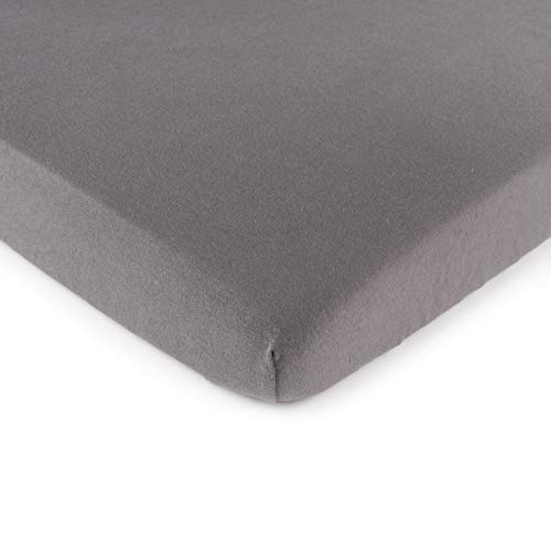 SheetWorld Fitted 100% Cotton Jersey Square Play Yard Sheet Fits Joovy 38 x 38, Dark Grey, Made In USA