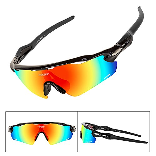 Batfox Polarized Sports Sunglasses with Interchangeable Lenses Comfortable Silicone Leg tr90 Unbreakable Frame for Running Cycling Baseball Fishing Driving 100% UV Protection (Colorful, - Lenses Interchangeable With Sunglasses