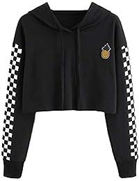 f1ba49b01326 Women's Cute Crop Top Teen Girls Cropped Hoodie Pineapple Print Sweater  Jacket Sweatshirt Jumper Pullover Tops