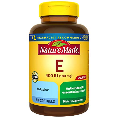 Nature Made Vitamin E 180 mg, 400 IU dl-Alpha Softgels, 300 Count Value Size for Antioxidant Support, Packaging May Vary