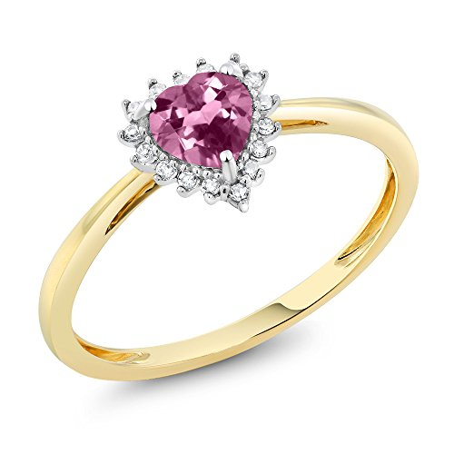 10K Two-Tone Gold 5mm Pink Tourmaline and Diamond Heart Shape Ring (Available in size 5, 6, 7, 8, 9)