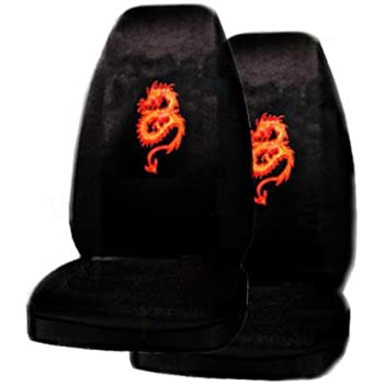 A Set Of 2 Universal Fit Dragon Red Seat Covers