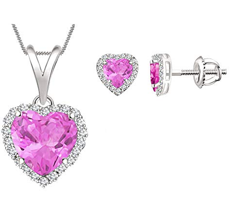 Simulated Pink Sapphire Halo Heart Pendant Necklace & Earrings Jewelry Sets for Womens Girls in 14k White Gold Plated Set