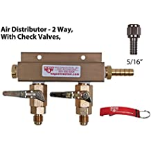 Air Distributor - 2 Way, MFL Check Valves, 5/16 inch Barb/Stem, swivel nut and washers by Kegconnection