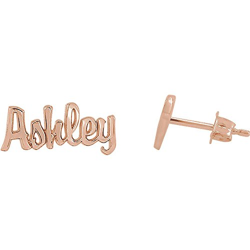 Jewelry Plate Personalized Name Earring (KING OF JEWELRY 14K Solid Gold Script Nameplate Friction back Earrings (rose-gold))
