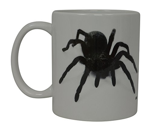 Funny Coffee Mug Scary Spider Black Tarantula Realistic Novelty Cup Great Gift Idea For Men Women Office Party Employee Boss Coworkers (Haloween Idea)