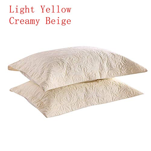 - MarCielo 2-Piece Embroidered Pillow Shams, Queen Size Decorative Microfiber Pillow Shams Set, Standard Size, Light Yellow, Yellow Beige