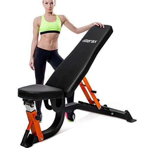 Merax Adjustable Weight Bench - 6 Position Incline Decline Utility Bench with High Density Foam...
