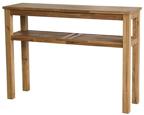 Solid Wood Vanity Console - New Pacific Direct 801431-118 Tiburon Shelf Console Table, Brown