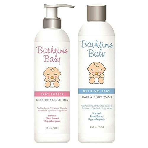(Bathtime Baby Natural Baby Shampoo & Lotion Set: Bathing Baby Hair & Body Wash and Baby Butter Moisturizing Lotion - Hypoallergenic, Safe & Gentle. No Toxins or Chemicals)