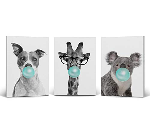 Dog Giraffe Koala Animal Bubble Gum Art 3 Panel Canvas Print Set Teal Blue Black and White Wall Art Home Decor Pop Art Living Room Kids Room Stretched Ready to Hang-%100 Handmade in USA- 12x8