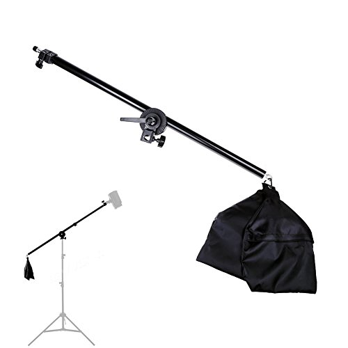 Lightdow 2.5ft to 4.5ft Adjustable Overhead Light Boom Arm with Swivel Tripod Clamp & Counter-weight Bag (Model Number: LD-DP025) by Lightdow