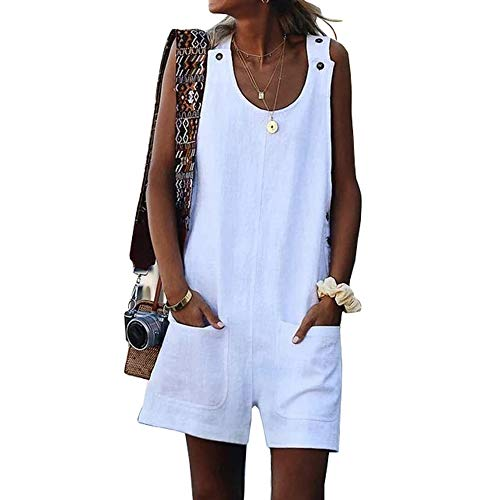 - UZZE Womens Bib Overalls Shorts Casual Summer Suspenders Wide Leg Jumpsuit Rompers with Pockets White