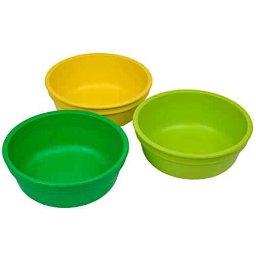 Re-Play Made in The USA 3pk Bowls for Easy Baby, Toddler and Child Feeding - Yellow, Green, Kelly Green (Stem))