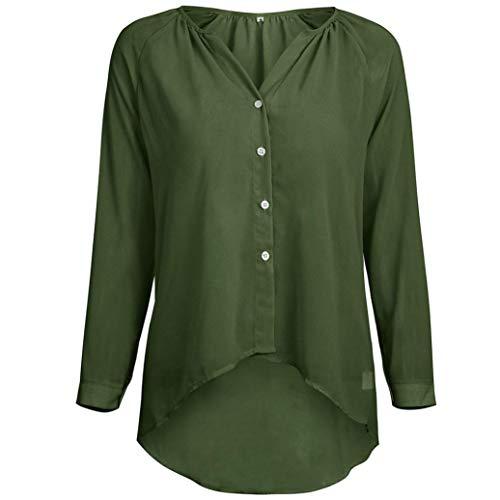 Chemise sans Sweatshirt Vert Chemise Taille avec Bouton de Femme Fantaisiez Mousseline Soie Longues Grande Couleur Et Manches pour Col de en Pure q55EAr
