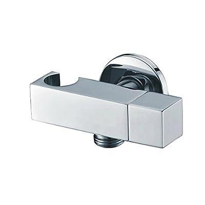 Weirun Modern Bathroom Brass Shower Wall Outlet Handheld Shower Spray Head Square Bracket Holder Supply Elbow Hose Connector with Water Shut Off Switch Flow Control Valve,Chrome