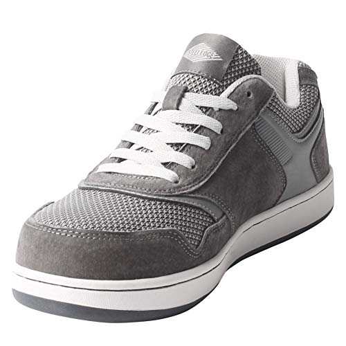 Safety Toe Athletic Shoes - Skater Style, Steel Toe Shoe Sneakers (12, Gray)