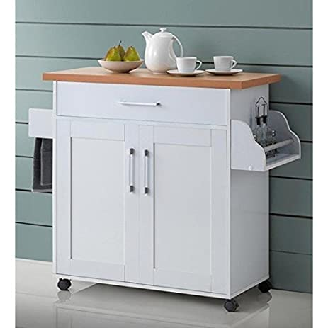 Portable Table Storage Mobile Utility Cabinet Kitchen Rolling Island Cart  Shelves