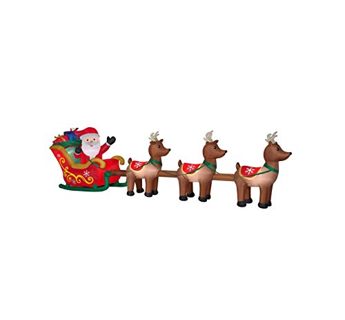 Home Accents Holiday 16ft lighted Santa and sleigh airblown inflatable Christmas decoration