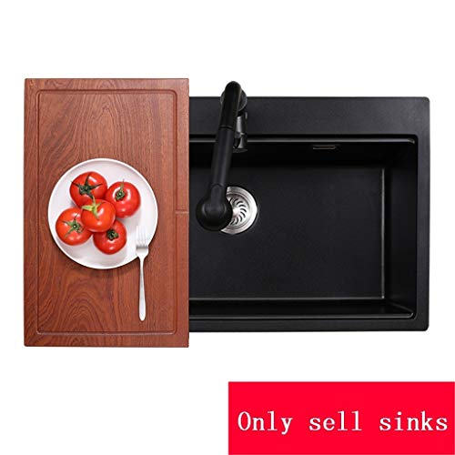 - Kitchen Sinks Metal Sink Large Capacity Home Single Trough Bar Sink Home Sink Durable (Color : Black, Size : 72.54921cm)