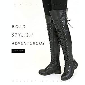 DailyShoes Women's Lace Up Thigh High Boots - Vegan Easy Lace Up Design With Zipper Trendy Mility Style Boot, Black PU, 7 B(M) US