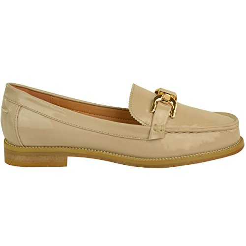 Fashion Thirsty Loafers Brogues Low Heel Shoes Womens Ladies School Formal Pumps Two Tone Size Nude Patent sM9I88KPA