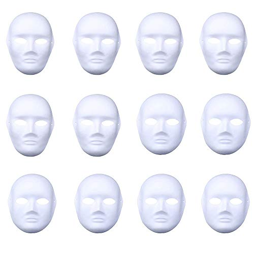 Nuxn 12pcs Halloween Full Face DIY Mask White Blank Painting Paper Mask Cosplay DIY Masquerade Mask Halloween Party Favors]()