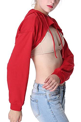 Blouse À Sweat Crop Manches Femme Top Longues Capuche Dazosue Pull Rouge AWBgcxnqU