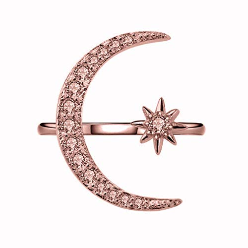 (Beppter Girls Ring Jewelry,Crescent Shape Rhinestone Finger Band Half Moon Sun Star Artificial Diamond Inlay Engagement Ring(Rose Gold,9))