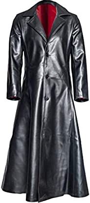 Bowake Leather Trench Coat Gothic Style Faux Leather Trench Long Overcoat Men Jacket