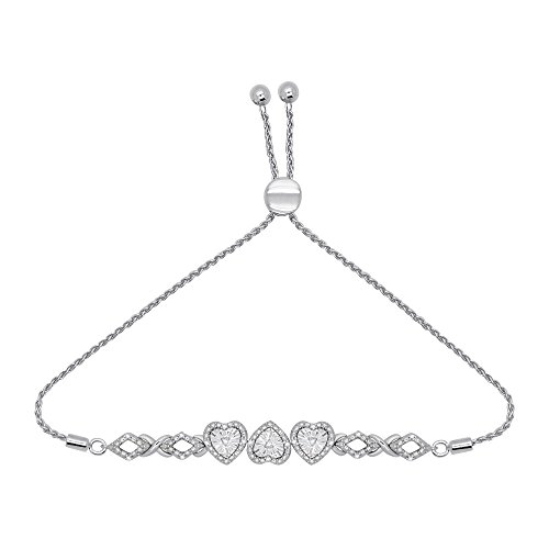 OMEGA JEWELLERY Sterling Silver Diamond Infinity Heart Bolo Bracelets for Women (0.13 Ct, I2-Clarity, ()