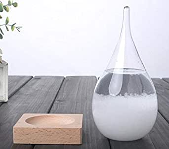 WEATHERFLAKE Weather Predicting Storm Glass-Decorative Beautiful and Unique Forecaster-Teardrop Shaped Barometer with Wooden Base Stand-Antique Crystal Forecasting Predictor Used by Admiral Fitzroy