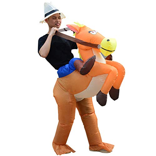 SIREN SUE an Animal-Shaped Inflatable Riding Horse Costume Cosplay for Halloween Performances Brown -