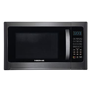 Farberware Black FMO12AHTBSG 1.2-Cubic' 1100-Watt Microwave Oven with Grill Function, Stainless Steel