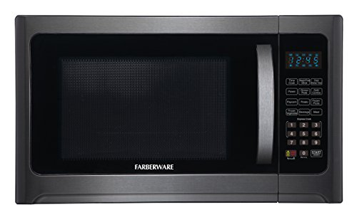 (Farberware Black FMO12AHTBSG 1.2 Cu. Ft. 1100-Watt Microwave Oven with Grill with ECO Mode and LED Lighting, Black Stainless Steel)