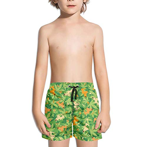 Ngetgwts4 Swimming Trunks Cannabis Leaf Dog Green Fully Lined Shorts for boy with Drawstring